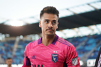 SAN JOSE, CA - MAY 22: JT Marcinkowski #1 of the San Jose Earthquakes during a game between Sporting Kansas City and San Jose Earthquakes at PayPal Park on May 22, 2021 in San Jose, California.