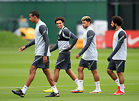 14th September 2021: The  AXA Training Centre,  Kirkby, Knowsley, Merseyside, England: Liverpool FC training ahead of Champions League game versus AC Milan on 15th September: Trent Alexander-Arnold of Liverpool with his team mates Joel Matip, Alex Oxlade-Chamberlain and Mohammed Salah