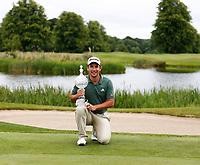 4th July 2021; Mount Juliet Golf Club, Kilkenny, Ireland; Dubai Duty Free Irish Open Golf, Day Four; Lucas Herbert of Australia poses with the winners trophy