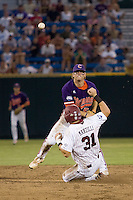 Clemson 2B Mike Freeman in Game 14 of the NCAA Division One Men's College World Series on June 26th, 2010 at Johnny Rosenblatt Stadium in Omaha, Nebraska.  (Photo by Andrew Woolley / Four Seam Images)