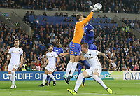 Pontus Jansson of Leeds United collides with team mate Felix Wiedwald during the Sky Bet Championship match between Cardiff City and Leeds United at The Cardiff City Stadium, Cardiff, Wales, UK. Tuesday 26 September 2017