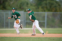 Babson Beavers third baseman Jack Ward (4) throws to first base as Thomas Lapham (45) looks on during a game against the Edgewood Eagles on March 18, 2019 at Lee County Player Development Complex in Fort Myers, Florida.  Babson defeated Edgewood 23-7.  (Mike Janes/Four Seam Images)