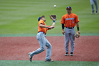 UTSA Roadrunners shortstop Joshua Lamb (2) catches a pop fly in front of second baseman Shea Gutierrez (3) during the game against the Charlotte 49ers at Hayes Stadium on April 18, 2021 in Charlotte, North Carolina. (Brian Westerholt/Four Seam Images)