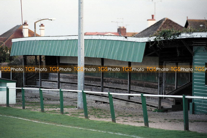 The main stand at Dawlish Town AFC, Sandy Lane, Dawlish, Devon, United Kingdom, pictured on 26th March 1997