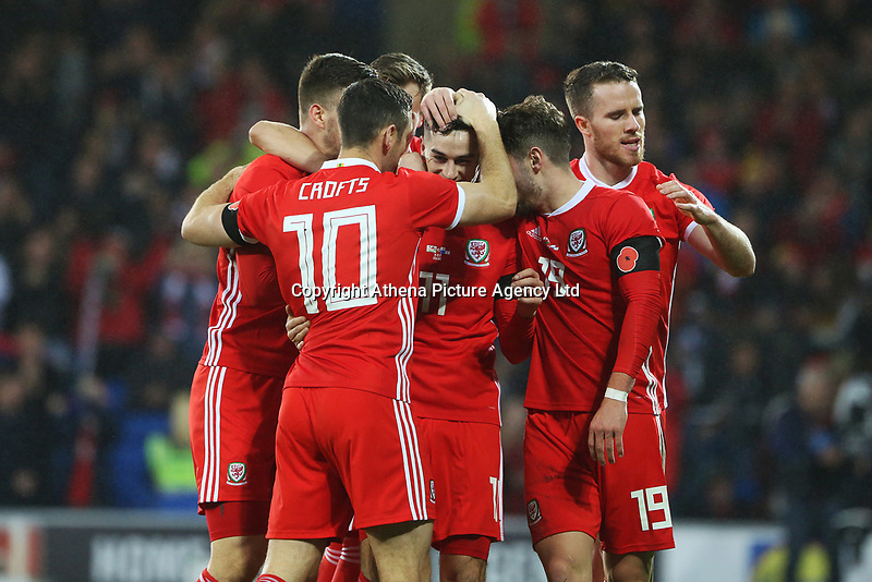 Tom Lawrence of Wales celebrates scoring his sides first goal of the match  during the International Friendly match between Wales and Panama at The Cardiff City Stadium, Wales, UK. Tuesday 14 November 2017