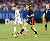 FRISCO, TX - MARCH 11: Kelley O'Hara #5 of the United States looks to pass the ball in the second halfKelley O'Hara during a game between Japan and USWNT at Toyota Stadium on March 11, 2020 in Frisco, Texas.