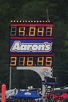 Jun. 19, 2011; Bristol, TN, USA: Detailed view of the scoreboard after NHRA funny car driver Robert Hight set a new speed record of 316.45 mph during the Thunder Valley Nationals at Bristol Dragway. Mandatory Credit: Mark J. Rebilas-