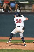 Cort Maynard (30) (NC Central) of the Bristol State Liners during a game against the Kingsport Axemen on June 13, 2021 at Boyce Cox Field in Bristol, Virginia. (Tracy Proffitt/Four Seam Images)