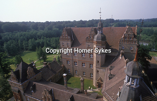 Boitzenburg East Germany. 1990. Boitzenburg Castle grounds.  Count Adolf-Heinrich Graf von Arnim / Adolf-Heinrich Count von Arnim-Boitzenburg. 1990 returns to the family estate and Boitzenburg castle for the first time, to claim back his inheritance from East Germany government.