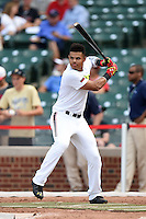 Nick Plummer (11) of Brother Rice High School in Lathrup Village, Michigan during the home run derby before the Under Armour All-American Game on August 16, 2014 at Wrigley Field in Chicago, Illinois.  (Mike Janes/Four Seam Images)