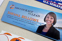 Shenna Bellows campaign materials lay on a table during the Portland Democratic City Committee town caucus in the East End School cafeteria in Portland, Maine, USA, on March 3, 2014. Bellows is trying to unseat incumbent Maine Republican Senator Susan Collins in the 2014 election. Candidates presented their positions to the public and also gathered signatures required to get them listed on the ballot. The town caucus had speeches from various other local candidates and also served to choose delegates for the 2014 Maine State Democratic Caucus.