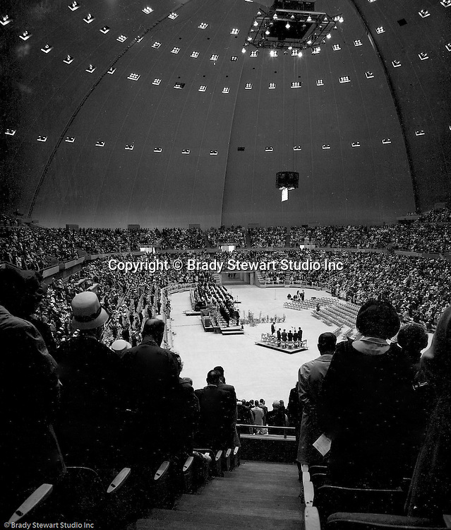 Pittsburgh PA:  View of the annual Council of Churches Easter Sunrise Services held at the Civic Arena.  The Council of Churches staged the event that included members of local Catholic, Presbyterian, Lutheran, Baptist, and other denominations in the Pittsburgh Area.  This year the roof was not opened due to weather.<br /> The Council of Churches was a merger of three local groups; the Allegheny County Sabbath School Association, the Pittsburgh Council of Churches, and the Council of Weekday Religious Education.  The council's objection was to better relate and understand other religions including the local Jewish, African American, Catholic and Christian churches in the downtown Pittsburgh area.