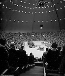 Pittsburgh PA:  View of the annual Council of Churches Easter Sunrise Services held at the Civic Arena.  The Council of Churches staged the event that included members of local Catholic, Presbyterian, Lutheran, Baptist, and other denominations in the Pittsburgh Area.  This year the roof was not opened due to weather.<br />