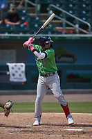 Orlando Arcia (13) of the Gwinnett Stripers at bat against the Charlotte Knights at Truist Field on May 9, 2021 in Charlotte, North Carolina. (Brian Westerholt/Four Seam Images)