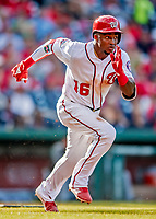 26 September 2018: Washington Nationals outfielder Victor Robles hustles to first with a 2-RBI double in the 2nd inning against the Miami Marlins at Nationals Park in Washington, DC. The Nationals defeated the visiting Marlins 9-3, closing out Washington's 2018 home season. Mandatory Credit: Ed Wolfstein Photo *** RAW (NEF) Image File Available ***