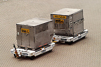 Two LD-3 container on carts, Hong Kong International Airport, Hong Kong SAR, China, Asi