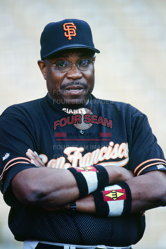 San Francisco Giants Manager Dusty Baker before a 1999 Major League Baseball season game against the Los Angeles Dodgers at Dodger Stadium in Los Angeles, California. (Larry Goren/Four Seam Images)