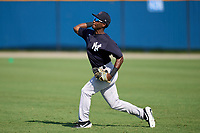 FCL Yankees outfielder Kyle Battle (56) during practice before a game against the FCL Tigers West on July 31, 2021 at Tigertown in Lakeland, Florida.  (Mike Janes/Four Seam Images)