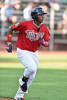 Elizabethton Twins first baseman Lewin Diaz (44) runs to first base during a game against the Bristol Pirates at Joe O'Brien Field on July 30, 2016 in Elizabethton, Tennessee. The Twins defeated the Pirates 6-3. (Tony Farlow/Four Seam Images)