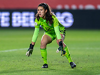 CARSON, CA - FEBRUARY 7: Emily Alvarado #12 of Mexico stands at the ready during a game between Mexico and USWNT at Dignity Health Sports Park on February 7, 2020 in Carson, California.
