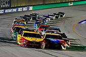 #22: Joey Logano, Team Penske, Ford Mustang Shell Pennzoil and #18: Kyle Busch, Joe Gibbs Racing, Toyota Camry M&M's Toyota Camry restart