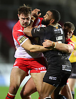 20th November 2020; Totally Wicked Stadium, Saint Helens, Merseyside, England; BetFred Super League Playoff Rugby, Saint Helens Saints v Catalan Dragons ; Samisoni Langi of Catalan Dragons tackles Alex Walmsley of St Helens