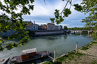A view of the Tiber river during Italy's lockdown due to Covid-19 pandemic. <br /> Rome 30/04/2020 <br /> Photo Andrea Staccioli Insidefoto