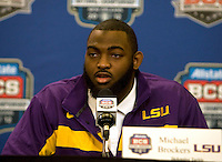 LSU Defensive Tackle Michael Brockers talks with the reporters during the LSU Defensive Press Conference at Marriott Hotel at the Convention Center on January 5th, 2011.