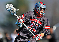 17 March 2012: Sacred Heart University Pioneer Attackman/Midfielder Matt King, a Junior from Brewster, NY, in action against the University of Vermont Catamounts at Virtue Field in Burlington, Vermont. The visiting Pioneers rallied to tie the score at 11 with five unanswered goals, dominating the 4th period. However the Cats scored with only 10 seconds remaining in the game to defeat the Pioneers 12-11 in their non-conference matchup. Mandatory Credit: Ed Wolfstein Photo