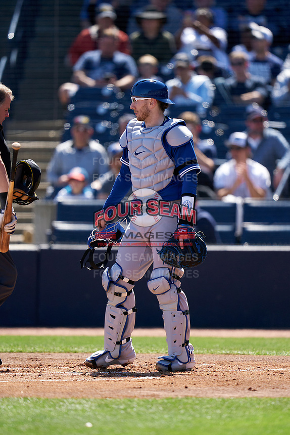 Toronto Blue Jays catcher Danny Jansen (9) during a Spring Training game against the New York Yankees on February 22, 2020 at the George M. Steinbrenner Field in Tampa, Florida.  (Mike Janes/Four Seam Images)