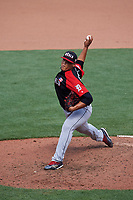 World Team pitcher Joe Jimenez (27) in action during the MLB All-Star Futures Game on July 12, 2015 at Great American Ball Park in Cincinnati, Ohio.  (Mike Janes/Four Seam Images)