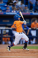 St. Lucie Mets third baseman Michael Paez (5) follows through on a swing during a game against the Daytona Tortugas on August 3, 2018 at First Data Field in Port St. Lucie, Florida.  Daytona defeated St. Lucie 3-2.  (Mike Janes/Four Seam Images)