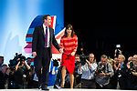 © Joel Goodman - 07973 332324  . 05/10/2011 . Manchester, UK . DAVID CAMERON and SAMANTHA CAMERON on the conference stage after David Cameron delivers the leader's speech at the 2011 Conservative Party Conference at the Manchester Central Convention Centre (formerly GMex) . Photo credit: Joel Goodman
