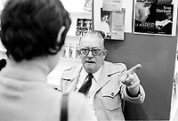 Undated file photo,<br /> <br /> Author Yves Theriault attend the Montreal Book Fair (Salon du Livre) in the 1970s.<br /> <br /> Photo : AQP - Alain Renaud