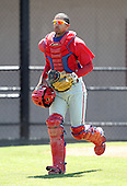 March 30, 2010:  Catcher Marlon Mitchell (10) of the Philadelphia Phillies organization during Spring Training at the Carpenter Complex in Clearwater, FL.  Photo By Mike Janes/Four Seam Images