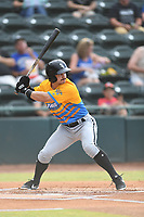 Ian Dawkins (8) of Los Rapidos de Kannapolis at bat during a game against Las Llamas de Hickory at L.P. Frans Stadium on July 17, 2019 in Hickory, North Carolina. The Llamas defeated the Rapidos 7-5. (Tracy Proffitt/Four Seam Images)