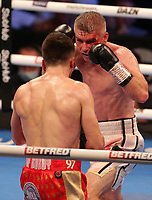 9th October 2021; M&S Bank Arena, Liverpool, England; Matchroom Boxing, Liam Smith versus Anthony Fowler; LIAM SMITH (Liverpool, England) and ANTHONY FOWLER (Liverpool, England)  during their WBA International Super-Welterweight Title contest