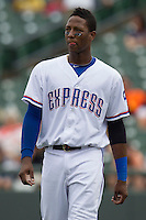 Round Rock Express shortstop Jurickson Profar #10 during the game against the New Orleans Zephyrs in the Pacific Coast League baseball game on April 21, 2013 at the Dell Diamond in Round Rock, Texas. Round Rock defeated New Orleans 7-1. (Andrew Woolley/Four Seam Images).