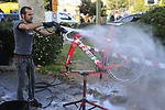Trek-Segafredo team mechanics wash the bikes at the end of a very dusty Strade Bianche 2019 running 184km from Siena to Siena, held over the white gravel roads of Tuscany, Italy. 9th March 2019.<br /> Picture: Eoin Clarke   Cyclefile<br /> <br /> <br /> All photos usage must carry mandatory copyright credit (© Cyclefile   Eoin Clarke)