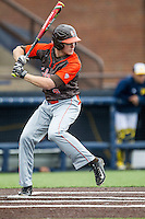 Bowling Green Falcons shortstop Cody Callaway (8) at bat against the Michigan Wolverines on April 6, 2016 at Ray Fisher Stadium in Ann Arbor, Michigan. Michigan defeated Bowling Green 5-0. (Andrew Woolley/Four Seam Images)