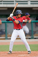 Elvin Soto #20 of Team Red at bat against Team Blue during the USA 18U National Team Trials at the USA Baseball National Training Center on July 1, 2010, in Cary, North Carolina.  Photo by Brian Westerholt / Four Seam Images