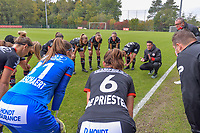 Peptalk Zulte-Waregem before the game pictured during a female soccer game between Standard Femina de Liege and Dames SV Zulte Waregem on the fifth matchday of the 2020 - 2021 season of Belgian Scooore Womens Super League , saturday 17 th of October 2020  in Angleur , Belgium . PHOTO SPORTPIX.BE | SPP | STIJN AUDOOREN