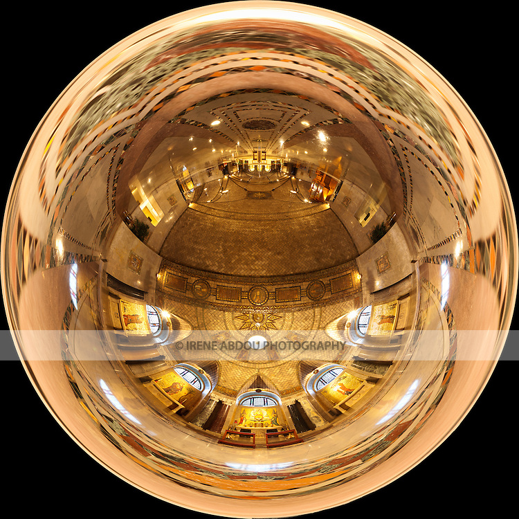"""360-degree """"little planet"""" panorama of the lower crypt church in the Basilica of the National Shrine of the Immaculate Conception in Washington, DC.  Built on land donated by the Catholic University of America, the Basilica of the National Shrine of the Immaculate Conception is North America's largest Roman Catholic church and 10th largest church in the world."""