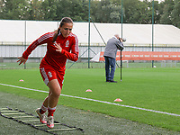 Vanity Lewerissa (21) of Standard warming up before  a female soccer game between Standard Femina de Liege and White Star Woluwe on the fifth matchday of the 2021 - 2022 season of Belgian Scooore Womens Super League , saturday 2 nd of October 2021  in Angleur , Belgium . PHOTO SPORTPIX   SEVIL OKTEM