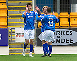 St Johnstone v Hearts...25.09.11   SPL Week 9.Cillian Sheridan celebrates his second goal with Liam Craig and Kevin Moon.Picture by Graeme Hart..Copyright Perthshire Picture Agency.Tel: 01738 623350  Mobile: 07990 594431