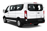 Car pictures of rear three quarter view of a 2019 Ford Transit Wagon 150 XLT Wagon Low Roof Sliding Pass. 130 5 Door Passenger Van angular rear
