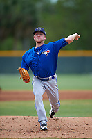 Toronto Blue Jays Travis Bergen (14) during a minor league Spring Training game against the Pittsburgh Pirates on March 24, 2016 at Pirate City in Bradenton, Florida.  (Mike Janes/Four Seam Images)