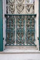 French Quarter, New Orleans, Louisiana.  Cast-iron Decorative Window Grill.