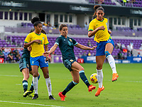ORLANDO, FL - FEBRUARY 18: Clarisa Huber #8 of Argentina defends Cristiane #11 of Brazil during a game between Argentina and Brazil at Exploria Stadium on February 18, 2021 in Orlando, Florida.