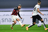 Theo Hernandez of AC Milan scores a goal during the Serie A football match between AC Milan and Spezia Calcio at San Siro Stadium in Milano  (Italy), October 4th, 2020. Photo Image Sport / Insidefoto